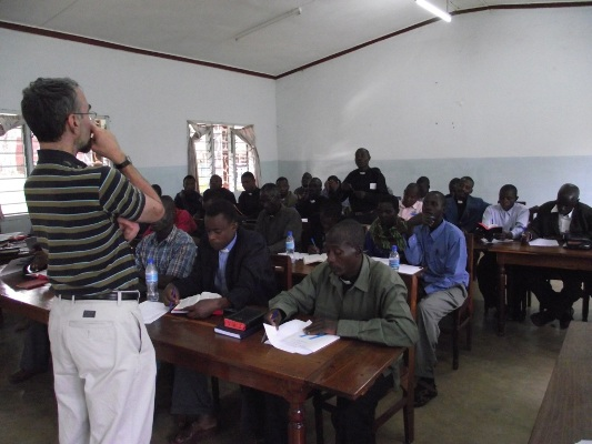 Prof George Sumner of Wycliffe College, Toronto talking to the Clergy and Cateshists of Tarime July 6, 2010