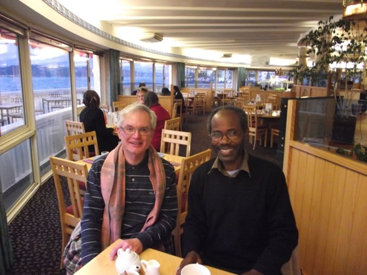 Bishop Mwita with Simon Smelt, the husband of Jane Smelt the Executive Assistant to Canon Robert Kereopa of Anglican Missions Board, NZ