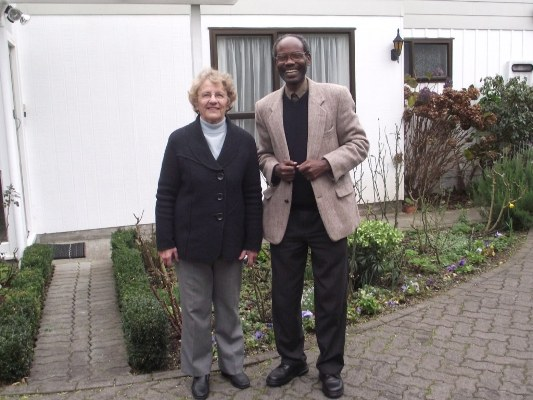 Bishop Mwita with Mrs Margareth Bourne, wife of Archdeacon Ian outside their home in Papokowhai, Porirua. Margareth and Ina hosted Bishop Mwita from 23-28 July 2011