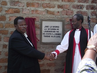 Dr Muniko after laying a foundation stone