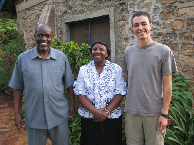 Goshen College student with Rose and Goodluck Kimaro