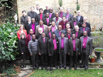 Mwita (third from left, second row) with other Bishops attending  a conference for Bishops in the early years of episcopal ministry
