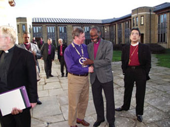 Bishop Mwita Akiri (Tanzania) sharing a light moment with Bishop Jonathan Meyrick (England) at the Cathedral Study Centre