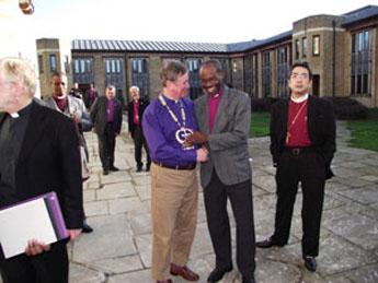 Bishop Mwita Akiri (Tanzania) sharing a light moment with Bishop Jonathan Meyrick (England) at the Cathedral Study Centre