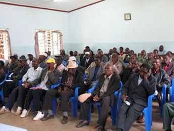 A cross-section of clan leaders at the meeting with Bishop Mwita.