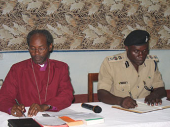 Bishop Mwita with ACP Kamugisha, the Regional Police Commander for Tarime-Rorya