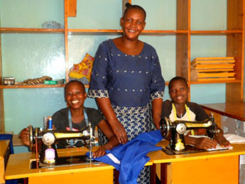 Mrs Jane Nyageswa instructor, with the students.