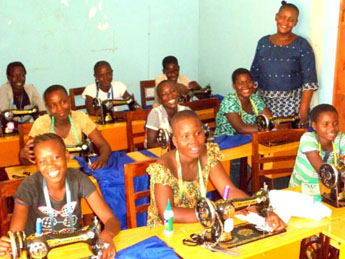 Some of the students at the sewing class started by the Mothers Union