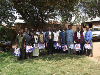 Bishop Mwita with clergy and catechists who received the mosquito nets