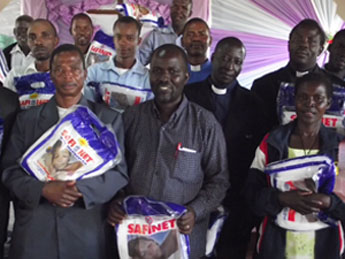 Clergy and Catechists after receiving mosquito nets donated by Christians in the Diocese of Wellington, New Zealand.
