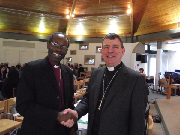 Bishops Stephen Platten (Wakefield) and Mwita Akiri (Tarime) at Wakefield Diocesan Synod, 10 March, 2012