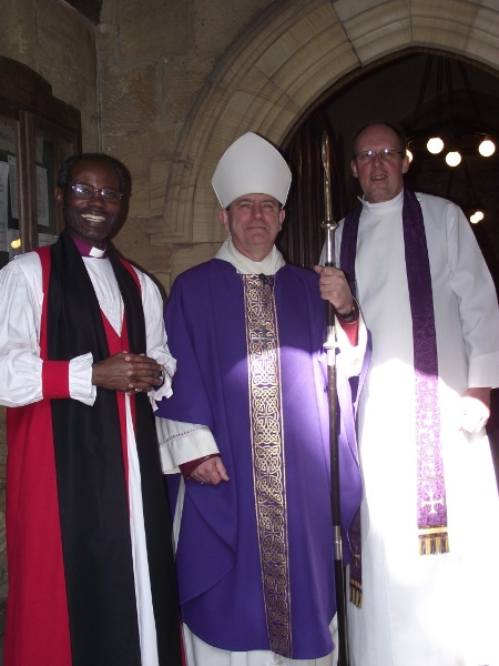 L to R - Bishop Mwita, Bishop Stephen (Wakefield) and Rev Stephen Kelly of Woolley, Sunday 11 March 2012_1