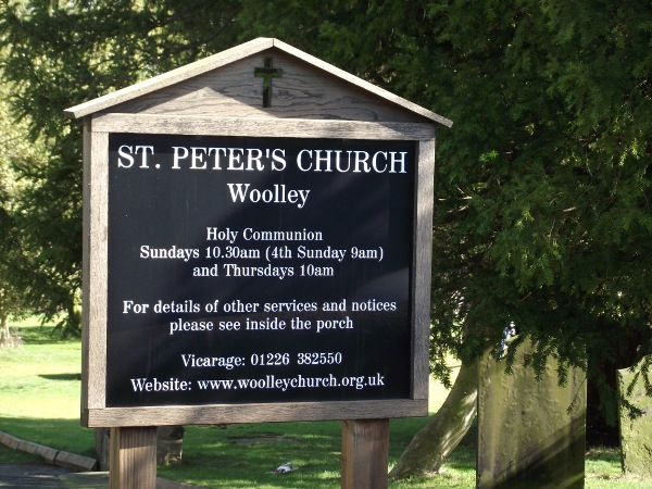 St Peter's Woolley (signboard)