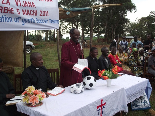 Bishop Mwita giving inaugural address during inauguration of church soccer teams